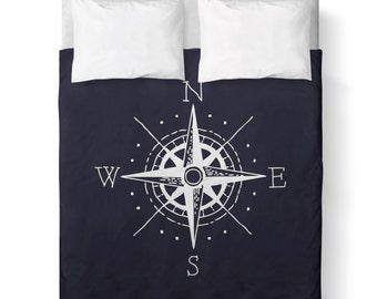 NAUTICAL DUVET COVER - Navy Blue and White Nautical Compass / Comforter cover/ King, Queen, Twin /bedding/