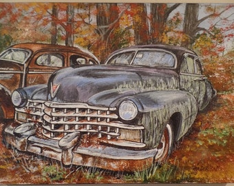 "Original ""Old Caddy & Friend"" Unframed Acrylic Painting on a Stretched Gallery Canvas. #14-031"