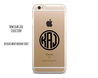 5019 // Clear Case Custom Circle Monogram Customize Personalize iPhone 6 Case iPhone 6 Plus Case ***NOT REAL GLITTER***