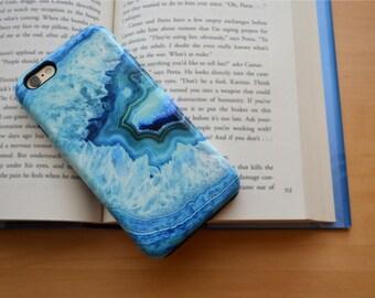 1309 // Blue Gemstone Geode Crystal Agate iPhone 6 iPhone 6 Plus iPhone 5 Samsung Galaxy S5 S6 Phone Case Custom Personalize Monogram