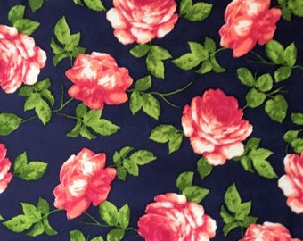Navy Floral - Poly Spandex  - By The Yard