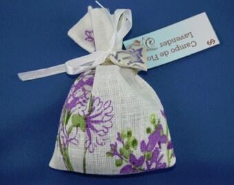 Linen lavender bag with ceramic ornament