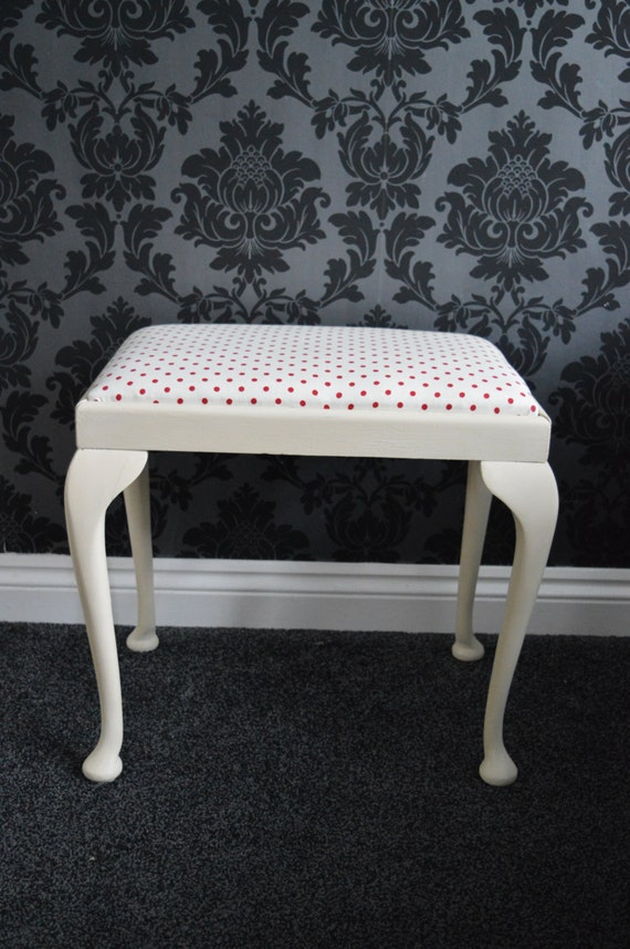 Vintage Shabby Chic Cream And Red Polka Dot Stool Annie