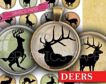 """Digital collage sheet - Deer Images Printable Circles Images 1.5"""", 1.25"""", 30mm, 1 inch, 25mm Printable Instant download bottle caps - td311"""