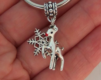 Rudolph the red nosed reindeer and snowflake keychain, deer key chain, winter key ring, christmas gifts under 5 dollars, stocking stuffers