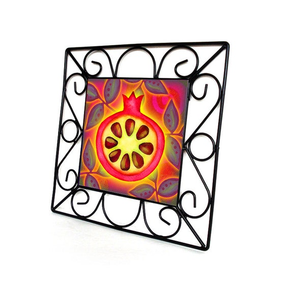 Wedding Gifts For Jewish Couples : Tempered glass trivet, wedding gift for Jewish couple, Judaica home ...