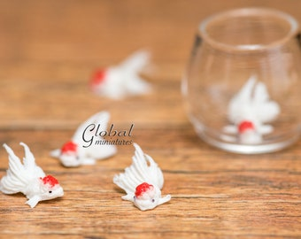 Dollhouse Miniatures Handcrafted Clay White Ranchu Goldfish - 5pc/Set
