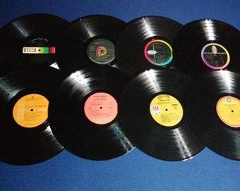 Set of 16 Vintage Crafting Vinyl, 12 Inch, Colorful Labels Set #1/DIY Coasters / Crafting Albums