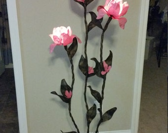 Pink hanji paper flower floor lamp..