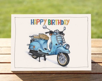 "Motorcycle Birthday Card  - Blue Scooter | A6 - 6"" x 4"" / 103mm x 147mm 