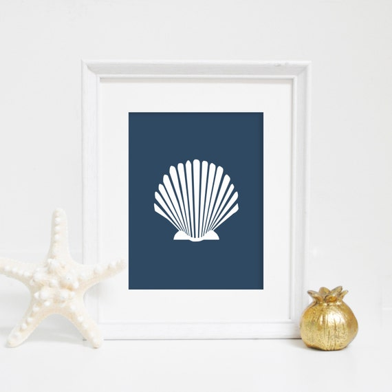 Sea Shell Print, Navy Blue Shell Print, Scallop Art, Shell Wall Art, Ocean Print, Coastal Home Décor, Seashell Art, Beach Decor, Navy Blue