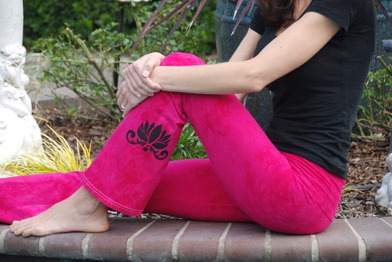 Pink Yoga Pants Hand Dyed from The ArtiZan Collection with Optional Hand Painted Design by Splash Dye Activewear
