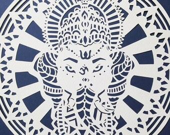 Ganesh Lord Ganesha Original Art, Hindu Artwork, Ethnic, Mandala, Wall Art, Spiritual, Elephant God, handmade papercut