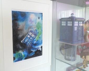 Tardis orbiting, Doctor who galaxy space art, starry print of my original watercolor painting.
