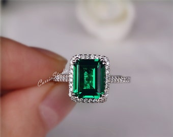 Gorgeous Emerald Engagement Ring Lab Emerald Ring Wedding Ring 925 Sterling Silver Ring Anniversary Ring Silver Gemstone Ring