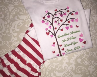 Valentine tee shirt and ruffle pants outfit for girls