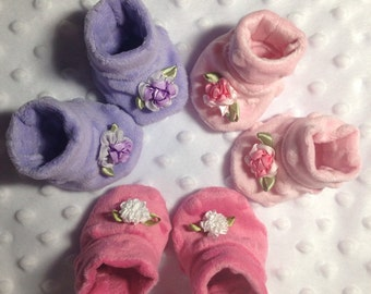 American Girl Bitty Baby Clothes (trio of minky booties)