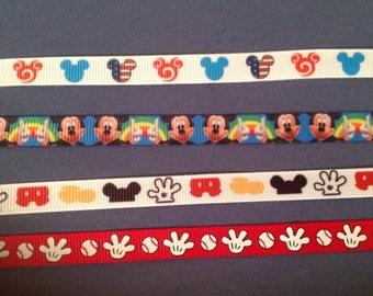 3/8 Wide Custom Made Adjustable Mickey Patterns Grosgrain Breakaway Collar