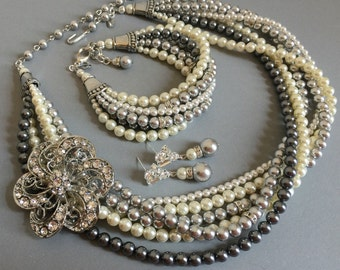 Complete Mother of the Bride Jewelry Set Grey Pearl Necklace Bracelet Earrings with Brooch 5 multi strands Swarovski pearls twisted torsade