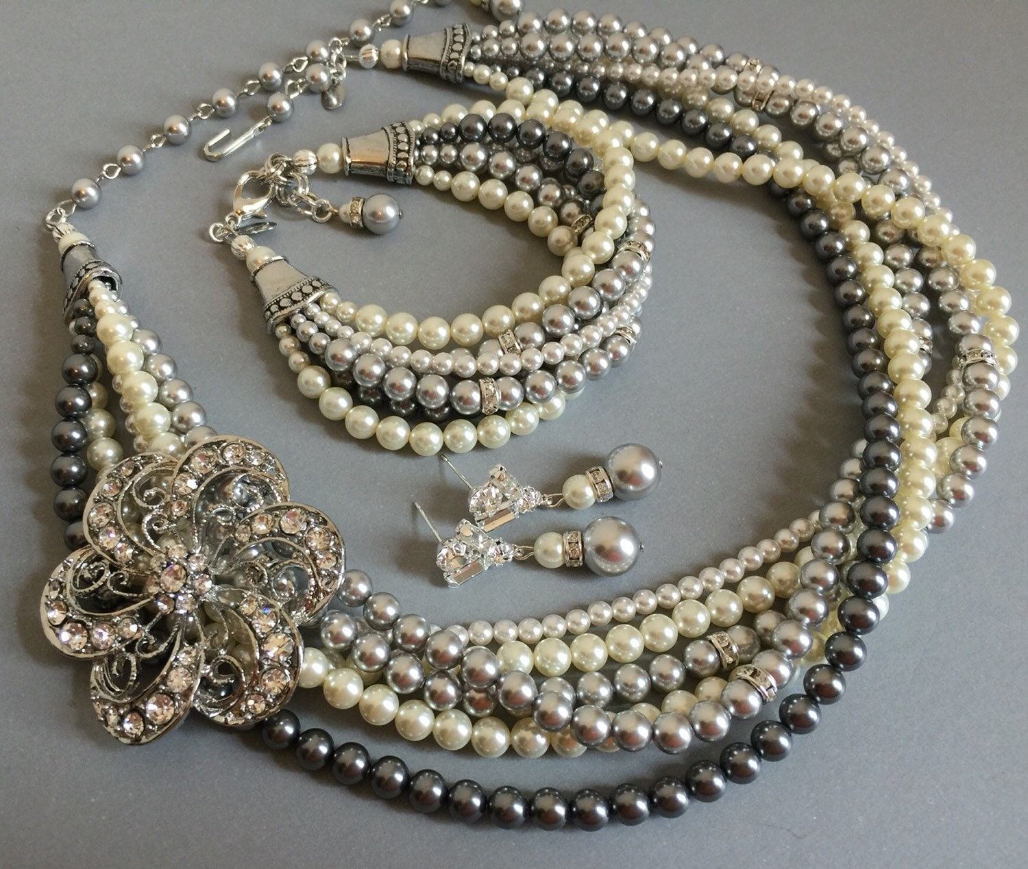 complete mother of the bride jewelry set grey pearl by