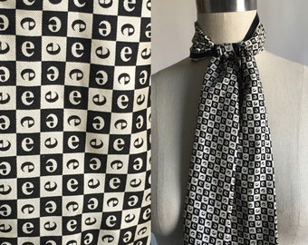 Vintage E scarf. 1990s graphic scarf. Initial e scarf. Abstract scarf. Black and white scarf. FREE SHIPPING.
