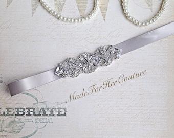 Silver Wedding Sash, wedding belt,  bridal sash, bridal belt, Bridesmaid Sash, Flower girl Sash, flower-girl belt, bridesmaid belt