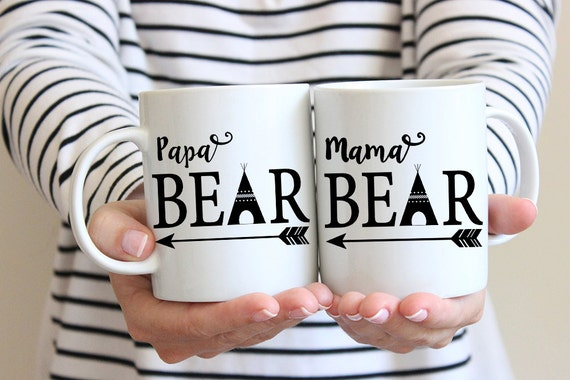 Coffee Mug Mama Bear and Papa Bear Coffee Mug Set - Great for New Parents - Baby Shower Gift