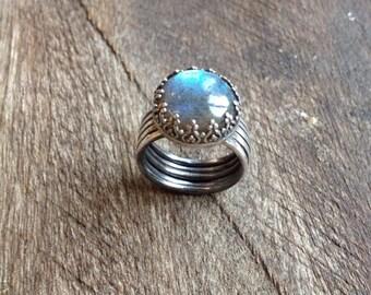 Size 6 Blue labradorite silver ring