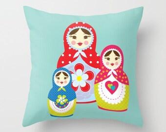 Babushka Nursery Pillow , Kids Room Decor , Girls Room , Throw Pillow ,  matryoshka Pillow , Decorative children's pillow ,  kids Pillow
