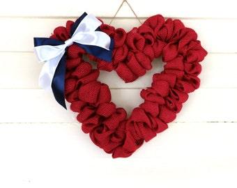 Red Burlap 4th of July Wreath, Burlap Wreath, Heart Wreath, Wreath for Front Door, Small Wreath, Patriotic Wreath, 4th of July Wreath
