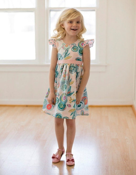 Sophie's V and Scoop Back Top and Dress. PDF sewing patterns for girls sizes 2t-12