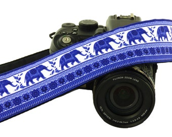 Blue Elephants Camera Strap. DSLR Camera Strap. SLR Camera Strap. Canon, Animal Camera Strap. Nikon Camera Strap. Women Accessories