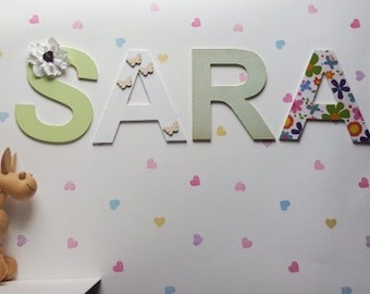 Wooden letters for nursery decor baby name wall mounted