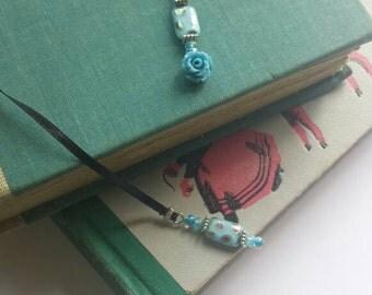 Blue rose black ribbon bookmark book thong