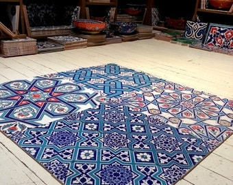 Turkish tile Set with 16 pcs and Blue Armony with colors total size : 80x80cm