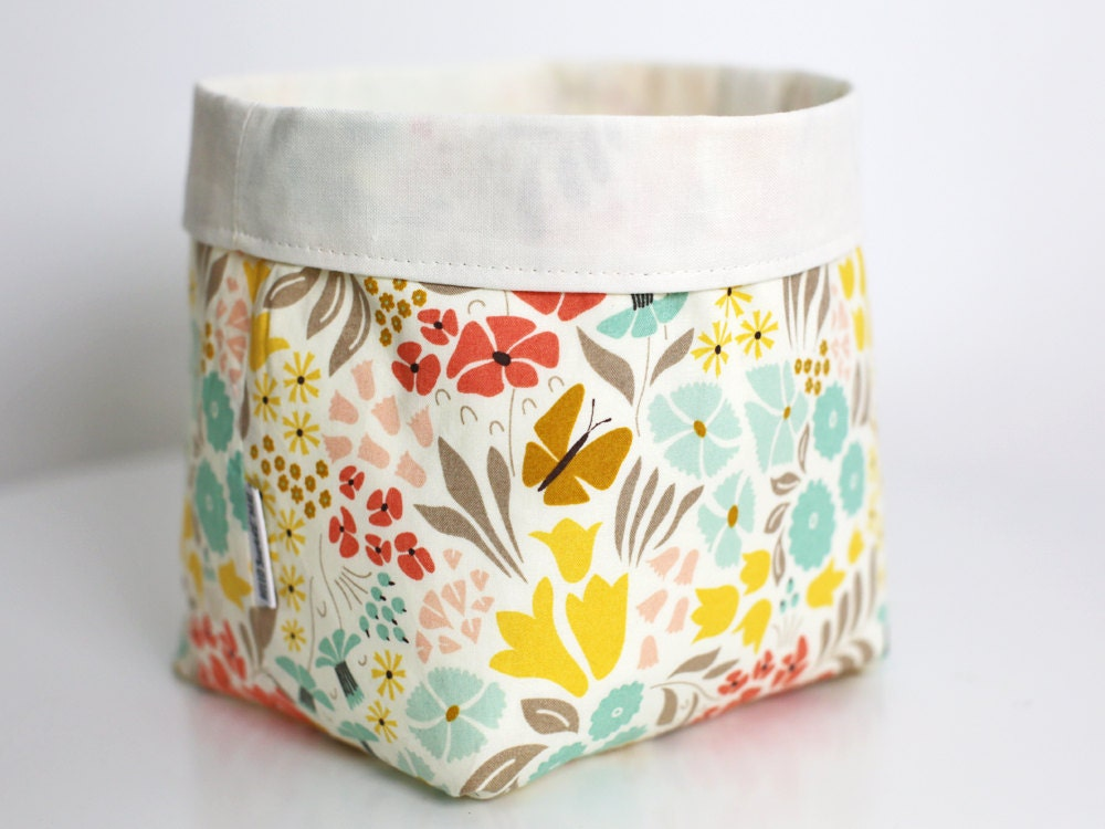 Large fabric basket bright floral fabric storage basket