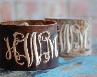 Monogrammed Cuff Bracelet-Monogrammed Bracelet-Leather Cuff Bracelet-Monogrammed Gift-Cuff Bracelet-Brown Leather Cuff Bracelet-Leather Cuff