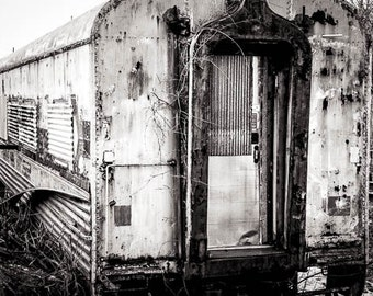 Abandoned Subway Car in Lewistown Pennsylvania, Black & White Photography, 5 x 7, 8-1/2 x 11, 12 x 18 Fine Art Print, FREE SHIPPING