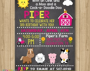 Farm Girl Birthday Invitation, Farm Invitation