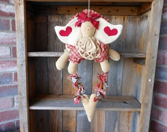 Gingerbread Doll, Gingerbread Angel Doll  with Heart Swag, Holiday Decor, Christmas Decor, Kitchen Decor