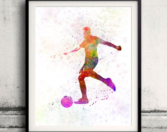 Man soccer football player 16 - poster watercolor wall art gift splatter sport soccer illustration print artistic - SKU 1460