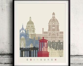 Edinburgh skyline poster - Fine Art Print Landmarks skyline Poster Gift Illustration Artistic Colorful Landmarks - SKU 1861