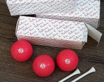 Personalized Pink Golf Balls in Personalized Sleeves - Monogram - 3607