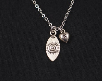 tiny evil eye necklace, initial necklace, silver evil eye charm, evil eye choker, evil eye pendant, yoga jewelry, yoga necklace, everyday