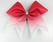 Red Glitter Ombre Cheer Bow - Cheer Bows Red - Cheer Bows With Rhinestones - Glitter Cheer Bows - Cheer Bows Cheap -  Cheerleading Gift