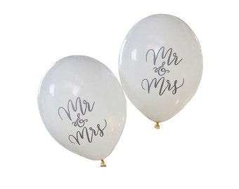 Balloons | Wedding Balloons | Mr & Mrs Balloons | Wedding Decorations | White Wedding Balloons | White Mr and Mrs Balloons | 10 per Pack