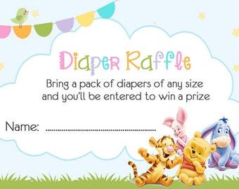 Winnie the Pooh Diaper Raffle Ticket  Baby Shower