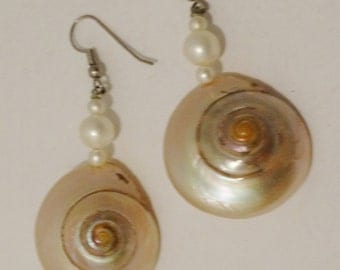 """Vintage Iridescent Natural Shell 2.5"""" Earrings."""
