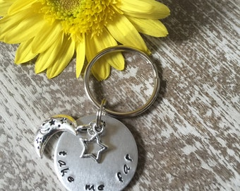 Take Me Far Keychain Charm Custom Hand Stamped