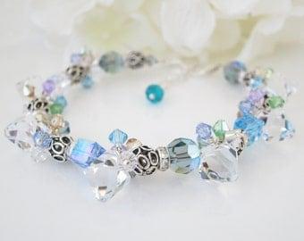 Swarovski blue and gray crystal bracelet, Unique Statement bracelet
